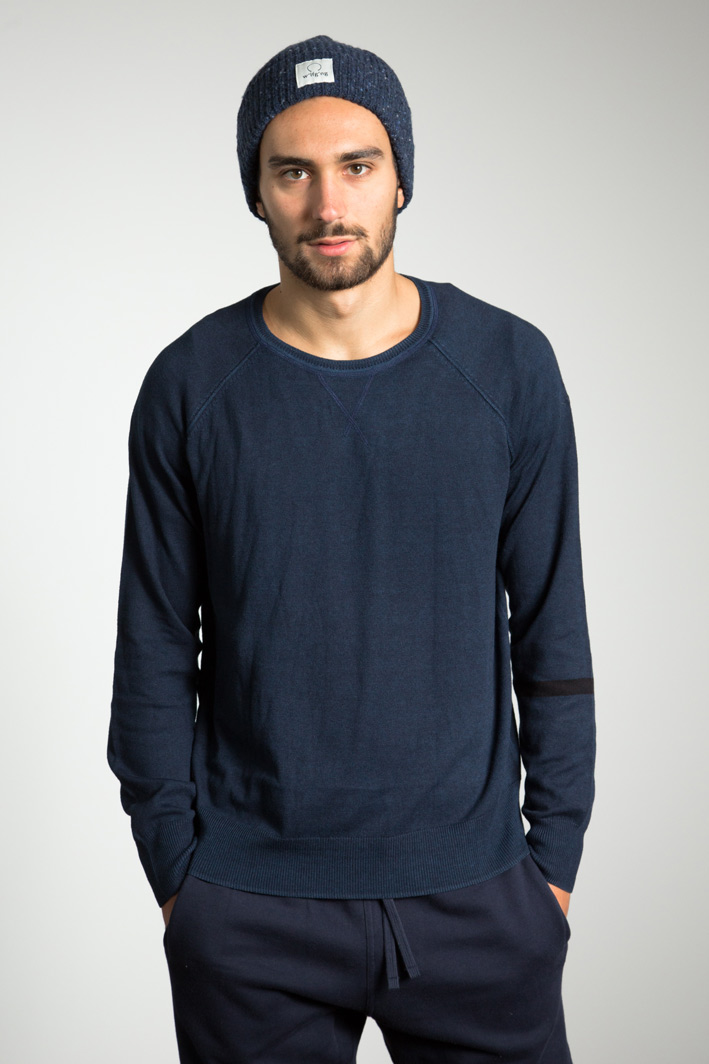 Manu wearing the garment dyed Wool Jumper and w'lfg'ng beanie