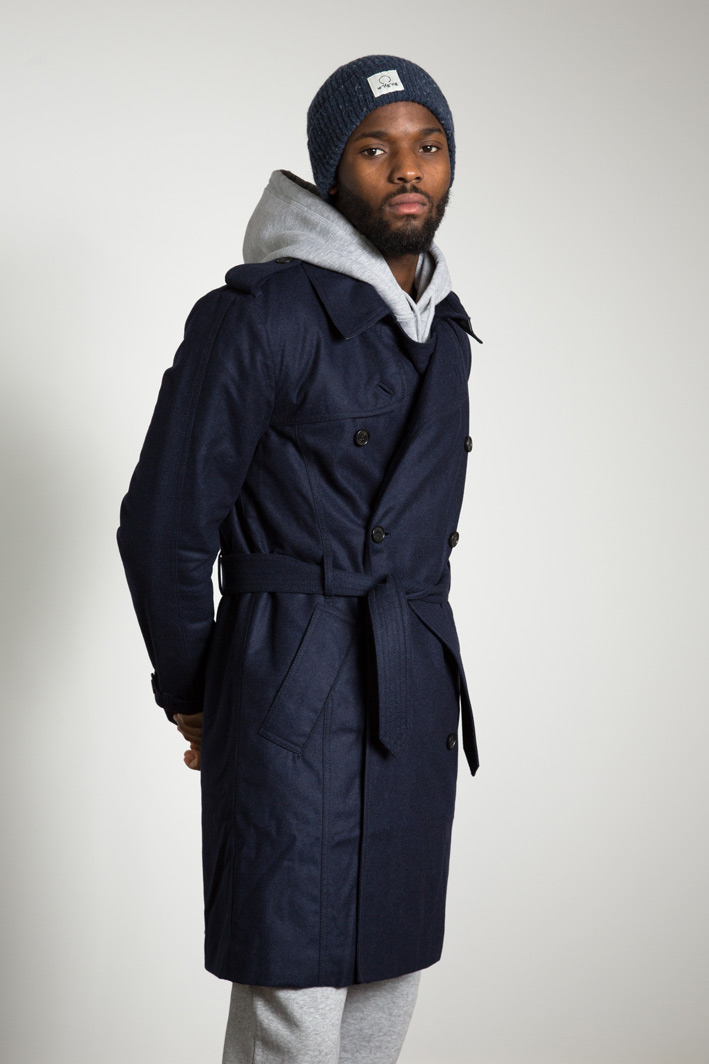 Peet wearing the w'lfg'ng water repellent wool Trench Coat Jacket made from Austrian Loden Wool