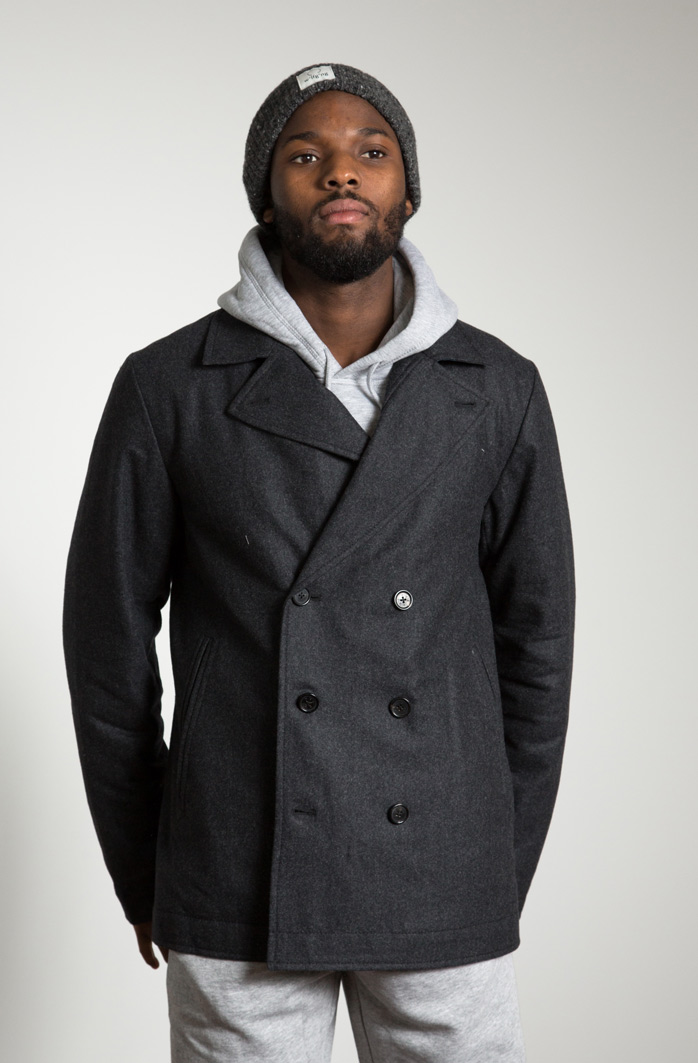Peet wearing the w'lfg'ng Pea Coat made from water repellent Austrian Loden Wool