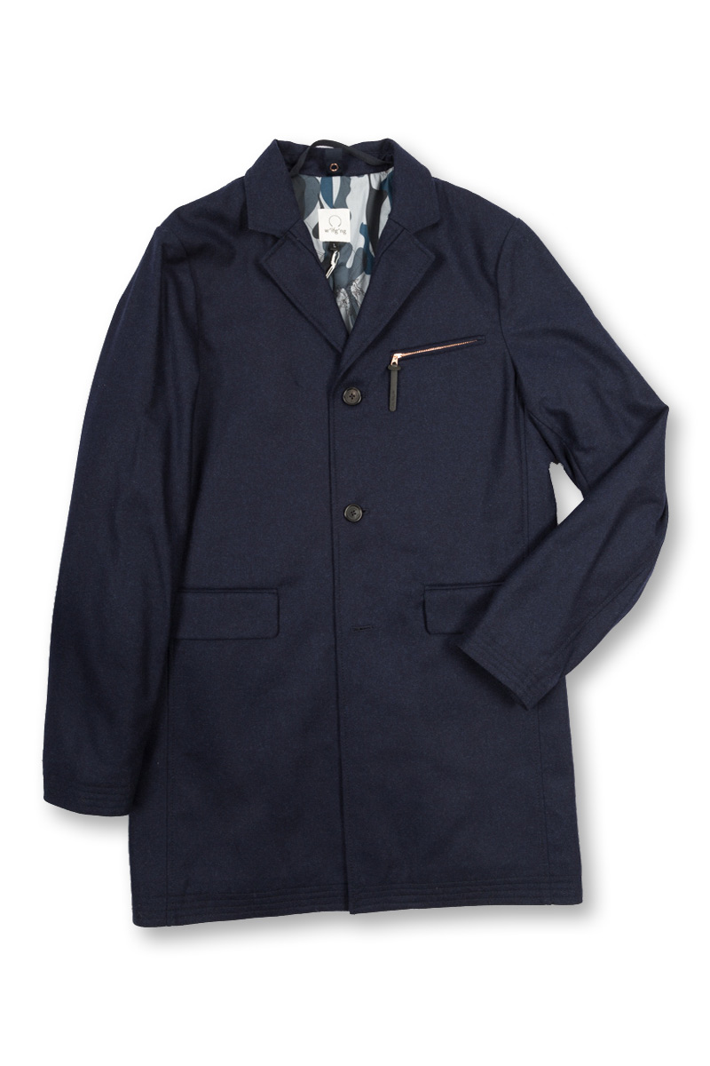 w'lfg'ng Covert Coat front navy