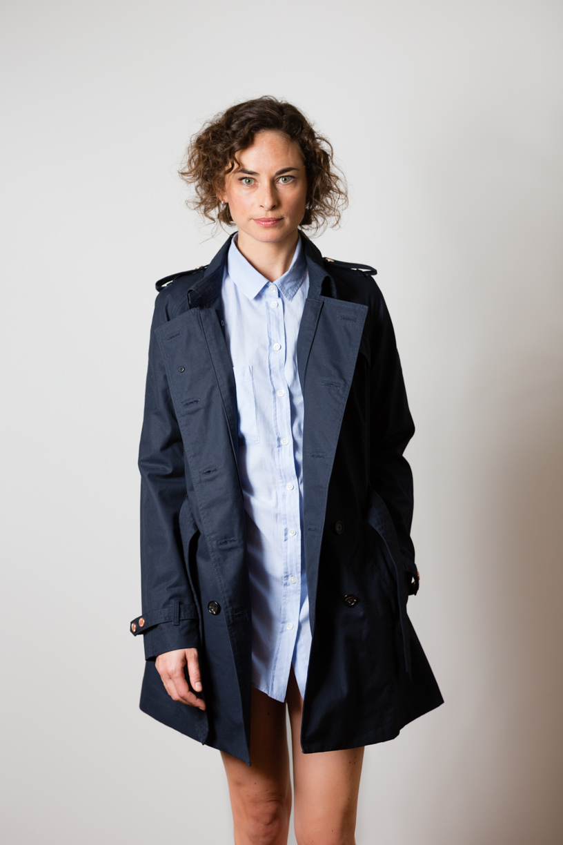 Katharina wearing the British Millerain w'lfg'ng Trench Coat