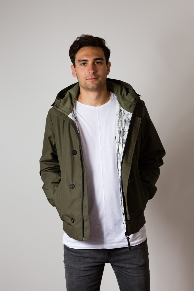 Manu wearing the w'lfg'ng EtaProof Deck Jacket