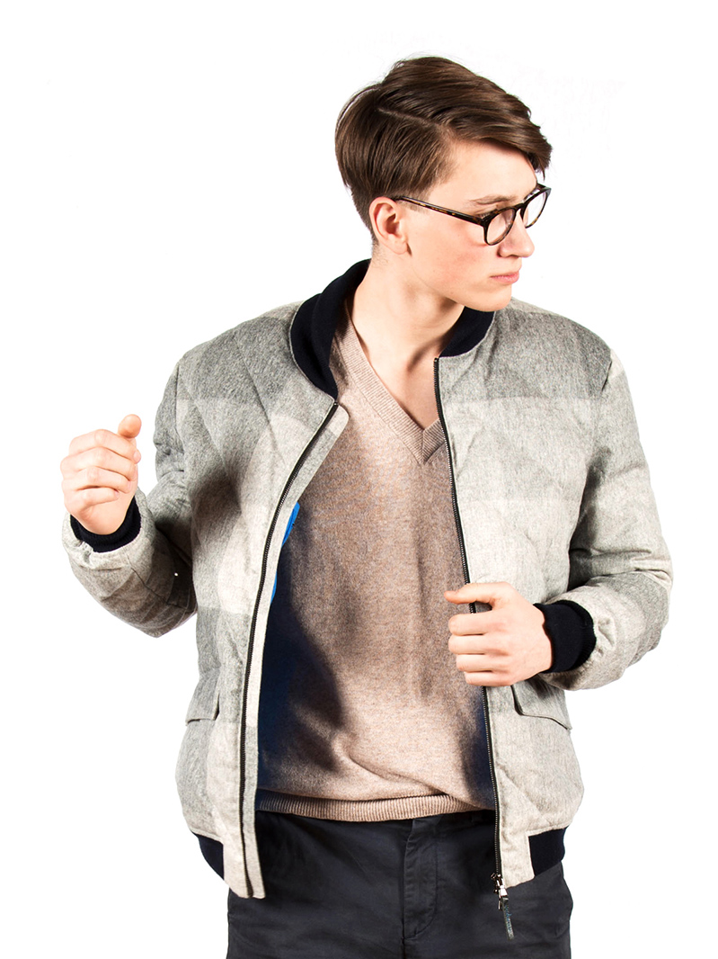w'lfg'ng down bomber jacket grey check