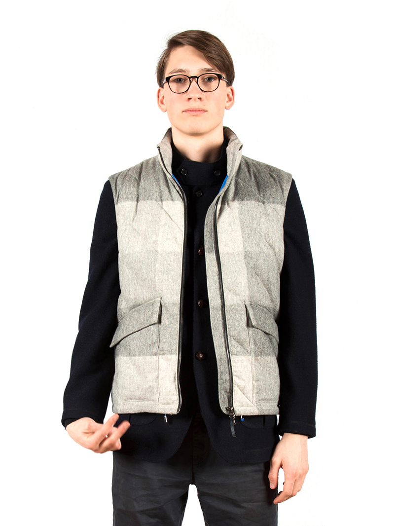 w'lfg'ng checked wool down vest
